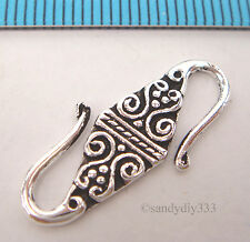 1x STERLING SILVER FLOWER S HOOK CLASP 24mm #489