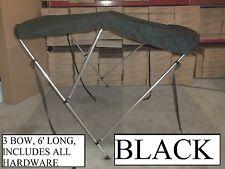 54-60 INCH BLACK BOAT BIMINI SHADE CANOPY TOP COVER BIKINI 3 BOW 55 56 57 58 59