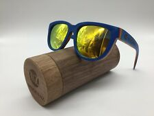 Woodenz Handcrafted Blue Skate Wood Frame Gold Mirror TAC Polarized Sunglasses