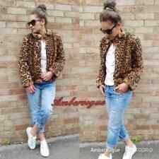Zara Camel Leopard Faux Fur Coat Jacket Size M UK 10