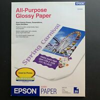 Epson Glossy Paper 8.5 x 11 in 20 Sheets - All Inkjet Printer Photos Flyers Etc.