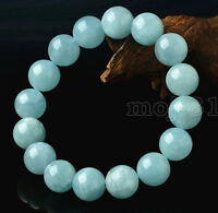 "Natural 12mm Brazilian Aquamarine Round Gemstone Beads Bracelet 7.5"" AAA"