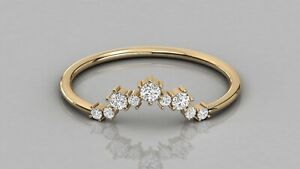 0.15Ct Natural Diamond Antique Curve Shape Stackable Wedding Band 9kt Solid Gold