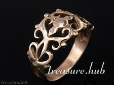 R020-> SOLID 9ct ROSE GOLD Filligree, Ornate SCROLL Ring size R