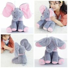 Peek-a-boo Elephant Singing Baby Plush Toy Stuffed Pink Animated Kids Soft Toy