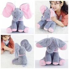 Peek-a-boo Elephant Singing Baby Plush Toy Stuffed Pink Animated Kids Doll