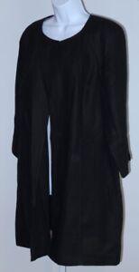 TALBOTS Women's Black Linen Single Button Unstructured Long Blazer Jacket Sz L