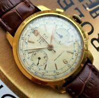Titus Geneve Chronograph Landeron 48 Gold pl OVERSIZE 38 mm REVISIONATO big size