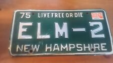 New Hampshire  License Plate Vintage 1975 Live Free of Die ELM-2