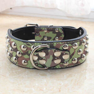 NEW Large Breed Leather Spiked Studded Dog Collar Pitbull Terrier Size S M L XL