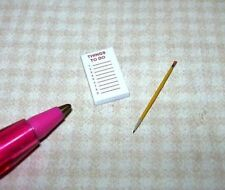"Miniature HUDSON RIVER ""Things to Do"" Pad w/Pages and Pencil for DOLLHOUSE 1/12"