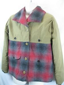 Vintage Woolrich Wool Jacket Plaid Quilted linedWomens M Hunting Chore Barn Coat