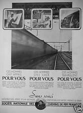 PUBLICITÉ 1939 SNCF GOUTEZ LES JOIES D'UN VOYAGE CONFORTABLE PRENEZ LE TRAIN