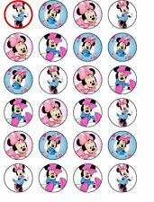 24 X PRE CUT MINNIE MOUSE RICE PAPER BIRTHDAY CUP CAKE TOPPERS