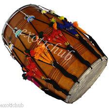 NEW PUNJABI BHANGRA DHOL DRUM~MANGO WOOD~WITH DECORATION PART~HAND MADE INDIAN~
