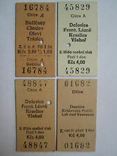 Edmondson Rail Train Tickets 4x Citice Czechoslovakia ČSD Railways 1985-1995