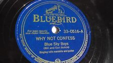 Blue Sky Boys - 78rpm single 10-inch – Bluebird #33-0516 Why Not Confess