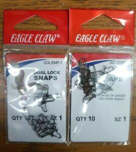 20 Eagle Claw Dual Lock Snaps Size 1 SFLSNP-1 Fishing Lure Tackle