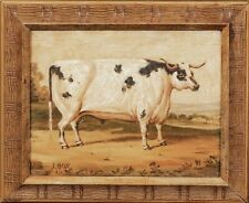 19th Century English Prize Longhorn Bull Cow Portrait Antique Oil Painting