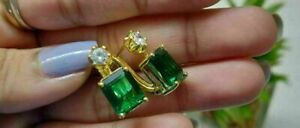 4.00 Ct Emerald & Diamond Lovely Solitaire Stud Earrings 14K Yellow Gold Finish