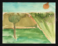 By a Tree w Sun 2015 C Peterson ** Abstract Watercolor Painting ** farm fields