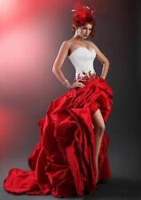 Sexy Beautiful White And Red Wedding Dresses High Low Sweetheart Bridesmaid Gown
