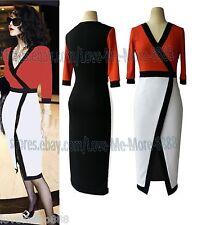 Women Celebrity Business Contrat Colour Split Wiggle Pencil Midi Shift Dress 1XL