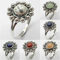 Choice Of Size !! 925 Stamped Silver DENDRITIC AGATE & Other Gems Ring Jewelry