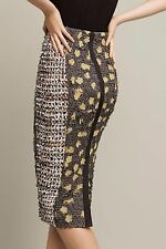 NWT Anthropologie Poppies Pencil Skirt 8 Byron Lars $398 Mustard Floral Applique
