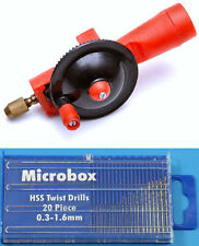 Jewellers or Modellers Micro Mini Drill & Drill Set 20 Piece Set 0.3mm to 1.6mm