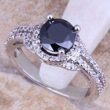 Certified 3Ct Round Cut Black Diamond Hallo Engagement Ring Set 14K White Gold