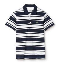 Maglietta Polo Lacoste Sport-XXXL T8-Navy & a Righe Bianco-YH1330-NUOVA CON ETICHETTA