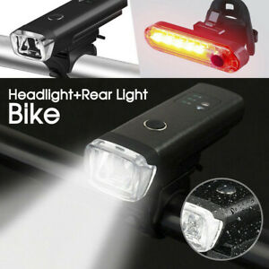 Bicycle Light USB Rechargeable LED Bike Front Rear Light Set For Cycling Bike AU