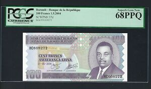 Burundi 100 Francs 1-5-2006 P37e Uncirculated Graded 68