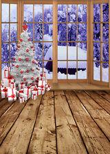 SL-4836-12 Digital Vinyl Backdrop Background Christmas trees,present,snow, 5*7FT