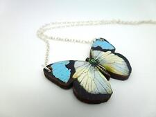BEAUTIFUL STATEMENT BLUE & WHITE WOODEN BUTTERFLY SILVER NECKLACE PENDANT