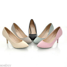Women's Mid Heels Pointed Shoes Synthetic Leather Pumps Classics UK Sz 1~10 D100