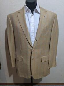 LUCIANO BARBERA Yellow/Blue/Orange Windowpane Wool/Linen Slim Sport Coat    46R