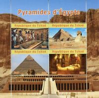 Chad Archaeology Stamps 2020 CTO Pyramids of Egypt Artefacts Architecture 4v M/S
