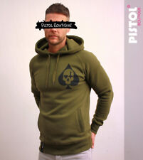 Pistol Boutique Khaki Pullover ACE OF SPADES SKULL CROSS HEART CHEST hoodie
