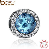 Authentic 925 Sterling Silver Charm Hearts Blue Crystal & Clear CZ Fit Bracelets
