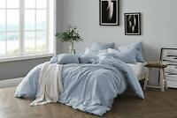 Blue Chambray 100% Natural Cotton Washed Yarn Dyed Duvet Cover & Sham Set