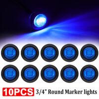 """10X 3/4"""" Blue 3 LED Bullet Boat Truck Trailer Side Marker Turn signals Light 12V"""