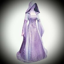 New Purple Gothic Medieval Hooded Velvet Corset Gown Dress size 2XL 16 18 20