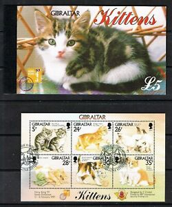 Gibraltar 1997 Kittens £5 booklet and miniature sheet. FREE UK POSTAGE