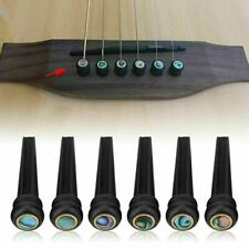 More details for 6pcs high quality abalone wood ebony bridge pins set acoustic guitar string pegs