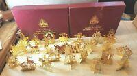 Lot of 24 Vintage Danbury Mint Christmas 23 kt Gold Ornaments 1980s 2 Box Sets