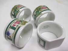 4 Porcelain Lenox Napkin Rings Holders Pink Tulip Floral Green Leafy Pattern