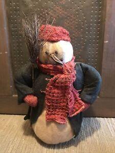 "Primitive Aged 10"" Snowman Doll"