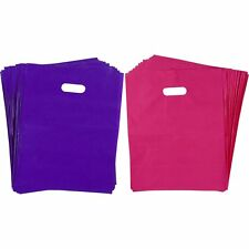 "100 Plastic Merchandise Shopping Bags 12"" x 15"" Glossy Pink Purple with Handles"